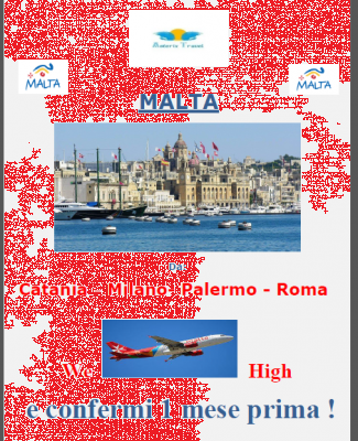 MALTA DA:CATANIA-MILANO-PALERMO-ROMA